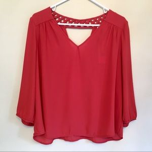 Skies Are Blue Stitch Fix Coral Open Neck Top XLP